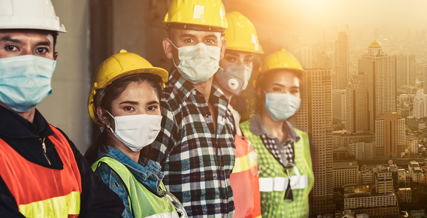 PPE workers cityscape